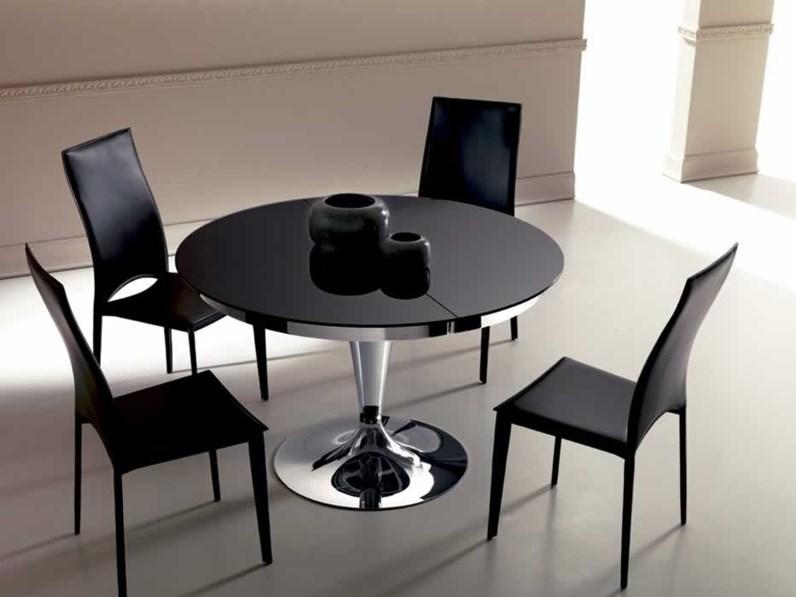 Ozzio tavolo eclipse rotondo allungabile in vetro for Tavolo rotondo vetro
