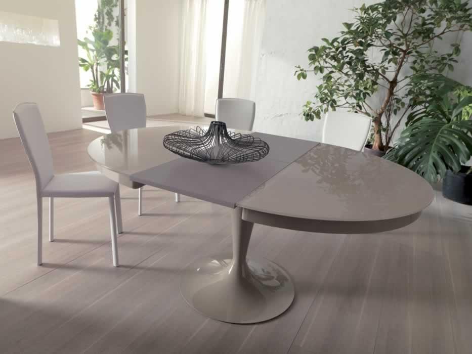 Ozzio tavolo eclipse rotondo allungabile in vetro tavoli for Tavolo rotondo allungabile design moderno