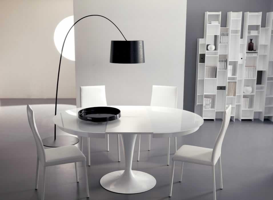 Ozzio tavolo eclipse rotondo allungabile in vetro tavoli - Tavolo rotondo bianco allungabile ikea ...