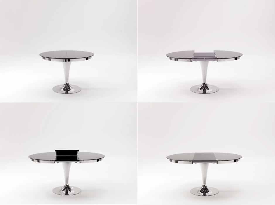 Ozzio tavolo eclipse rotondo allungabile in vetro tavoli for Tavolo pranzo rotondo allungabile