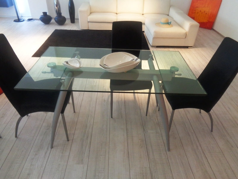 Ponti terenghi tavolo tavolo pegaso cristallo trasparente cromato allungabile scontato del 50 - Tavolo trasparente allungabile ...