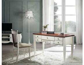 scrivania in legno style classica bicolore avorio e noce