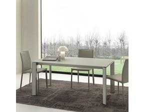 tavolo moderno con piano in vetro colore bianco