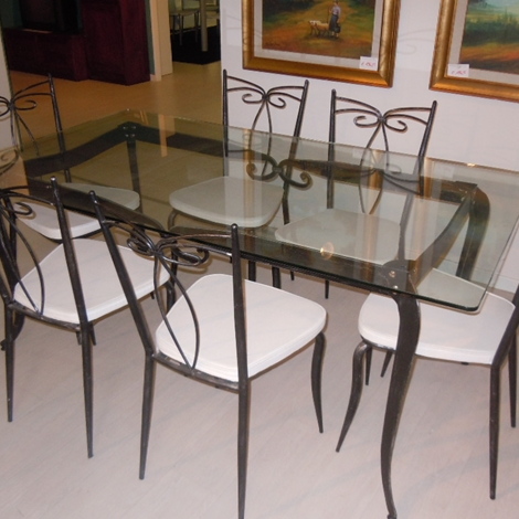 Set tavolo n 6 sedie ferro battuto e vetro sottocosto for Mensole in ferro battuto
