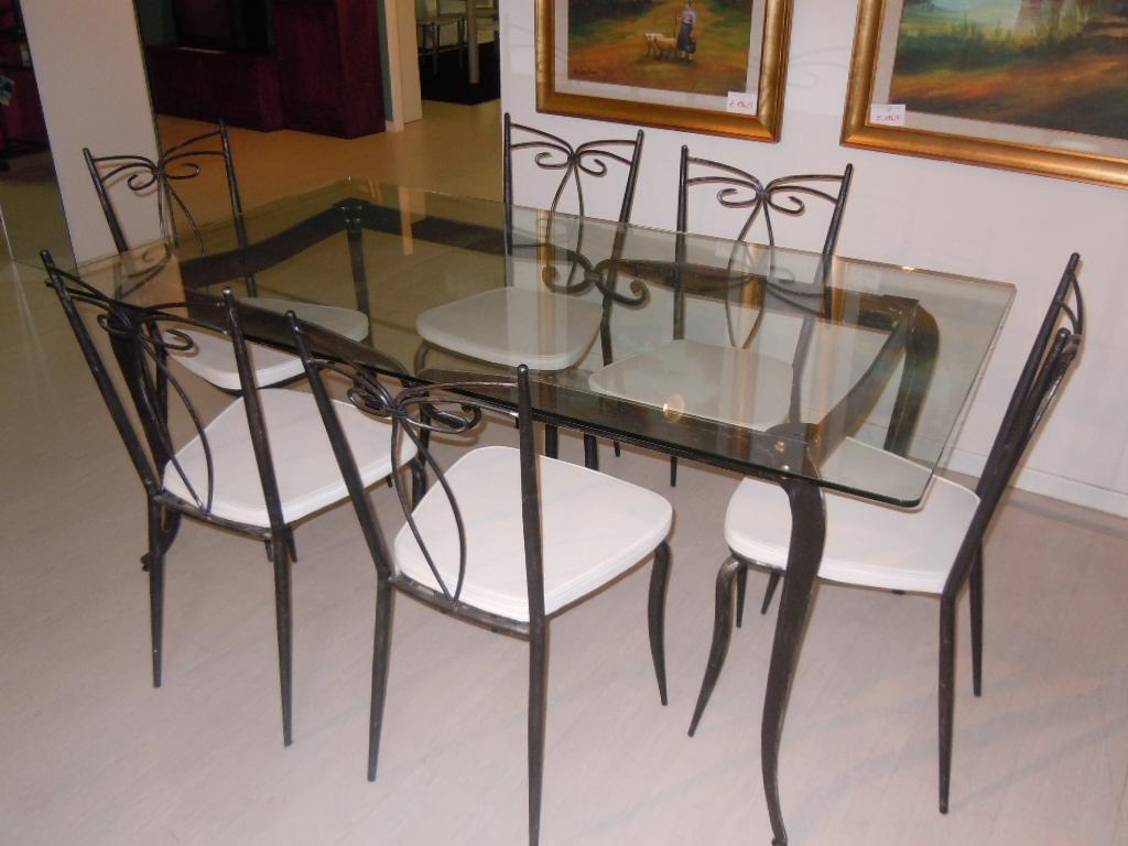 SET TAVOLO   N: 6 SEDIE FERRO BATTUTO E VETRO SOTTOCOSTO Tavoli A  #9C622F 1024 768 Sedie Per Tavolo Da Pranzo Ikea