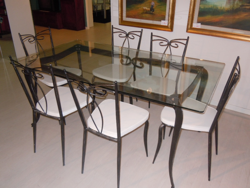 Set tavolo n 6 sedie ferro battuto e vetro sottocosto - Tavoli da pranzo ferro battuto e vetro ...