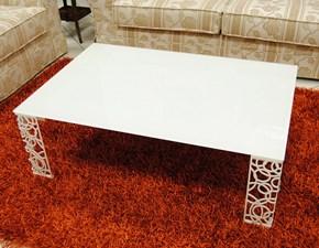 Tavolino  da salotto 120x80 con piano in vetro scontato del -45 %