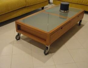 Tavolino a quattro cassetti e ruote con particolari in vetro scontato del -60%