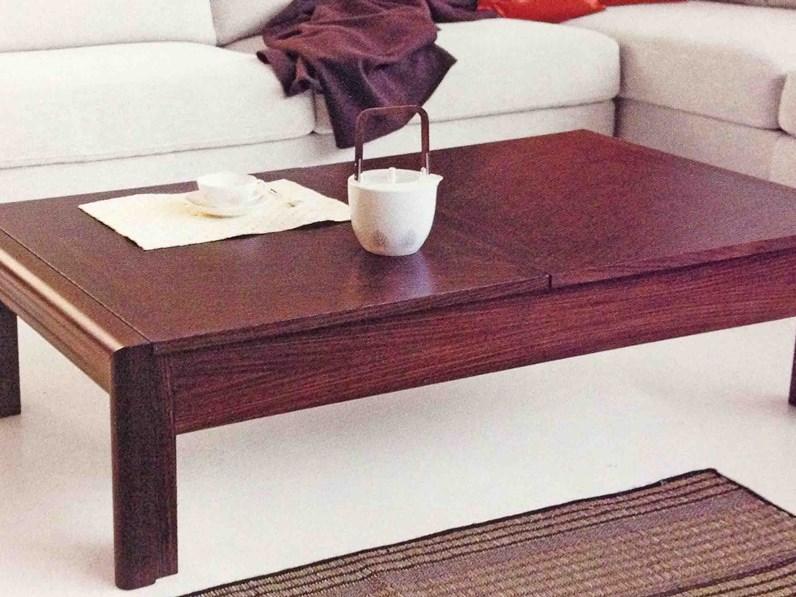 Tavolino basso da salotto in legno con vano attrezzato