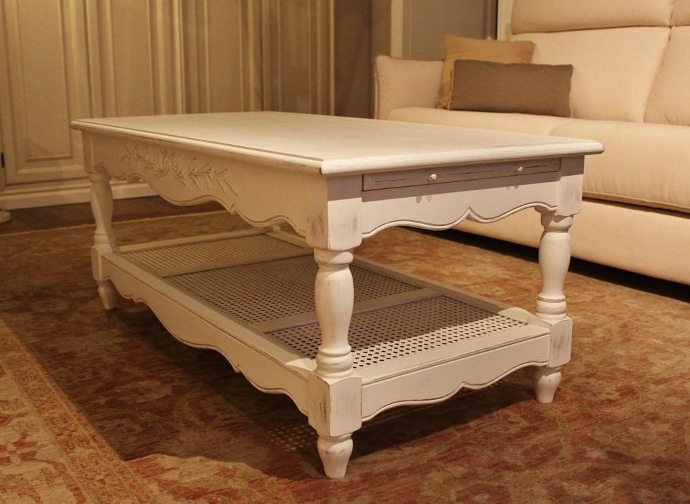 tavolino da salotto stile provenzale, 2 tiretti laterali - al 40 ... - Cucina Soggiorno Stile Provenzale 2