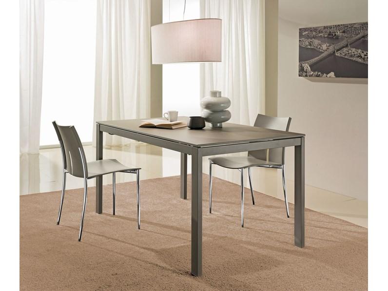 tavolo 140x80 allungabile a 200x80 con piano in vetro ceramica