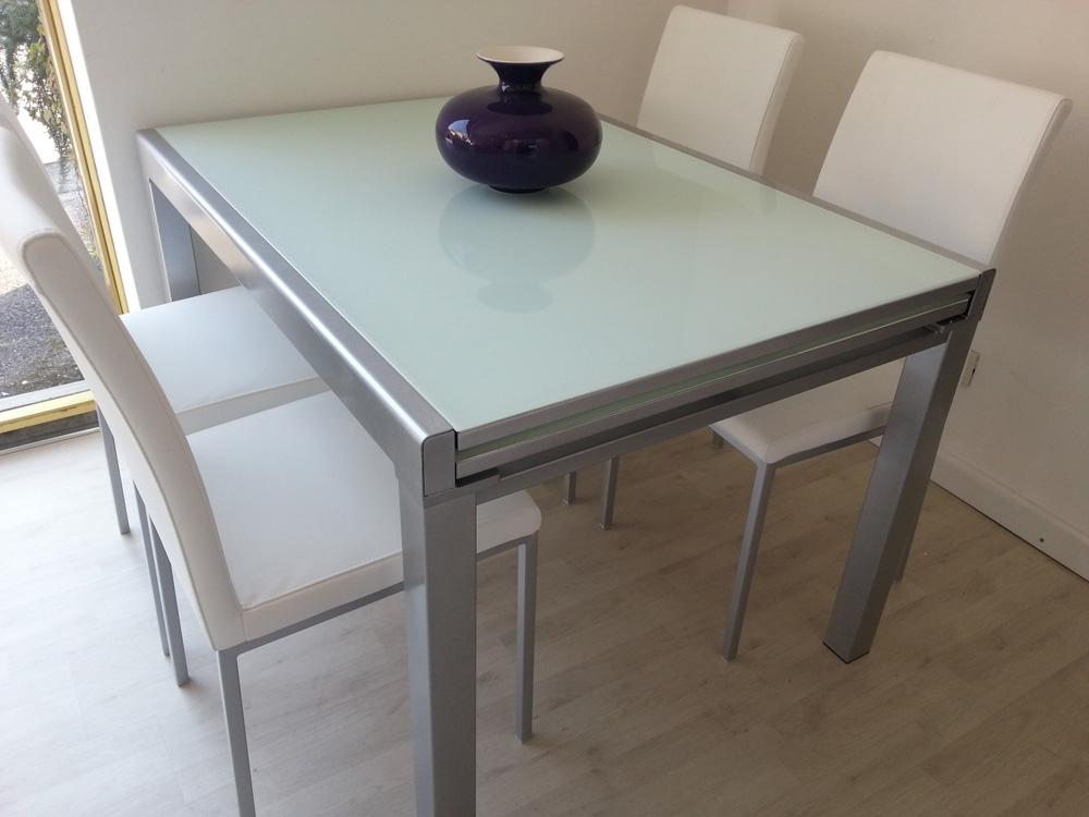 Tavolo 4 sedie zanotto cristallo temperato rettangolari for Cerco tavolo da cucina allungabile