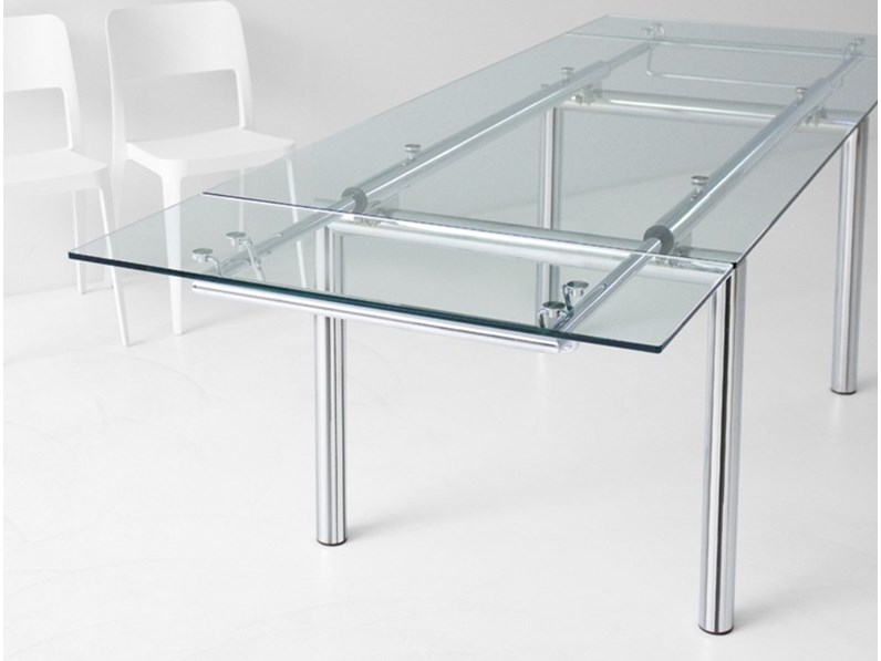 Tavolo acciaio e vetro fine produzione for Produttori tavoli allungabili
