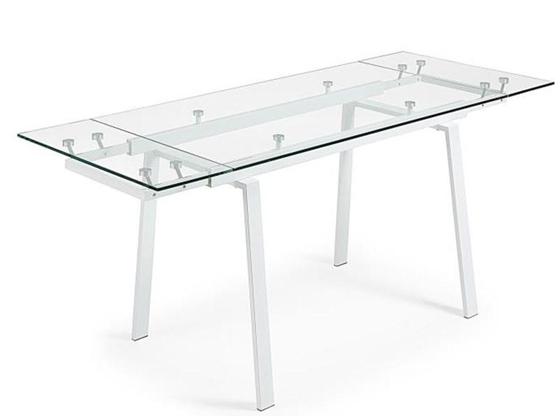 Tavolo Vetro Trasparente Allungabile.Tavolo Allungabile Bianco In Vetro Trasparente In Offerta Outlet