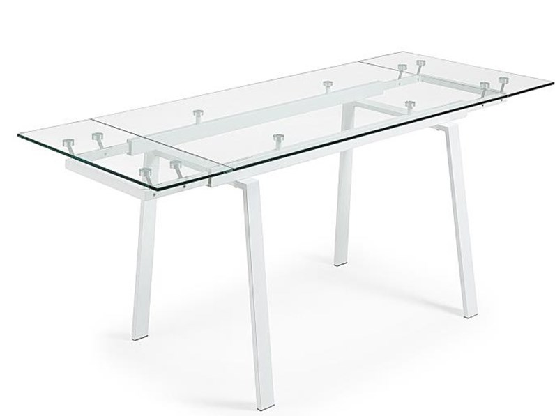 Tavolo Allungabile Offerte Varese.Tavolo Allungabile Bianco In Vetro Trasparente In Offerta Outlet