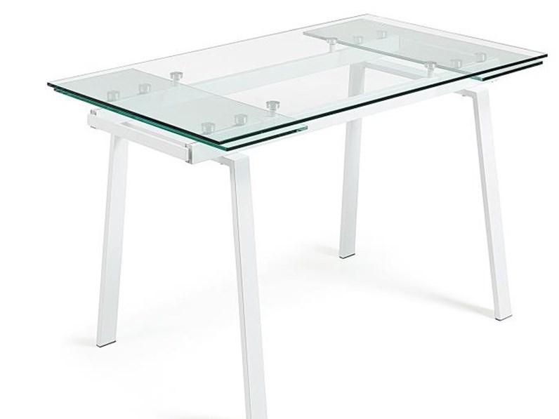 Tavolo Quadrato Allungabile Vetro Trasparente.Tavolo Allungabile Bianco In Vetro Trasparente In Offerta Outlet