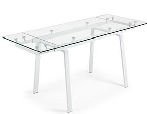 Tavolo allungabile bianco in vetro trasparente in offerta Outlet