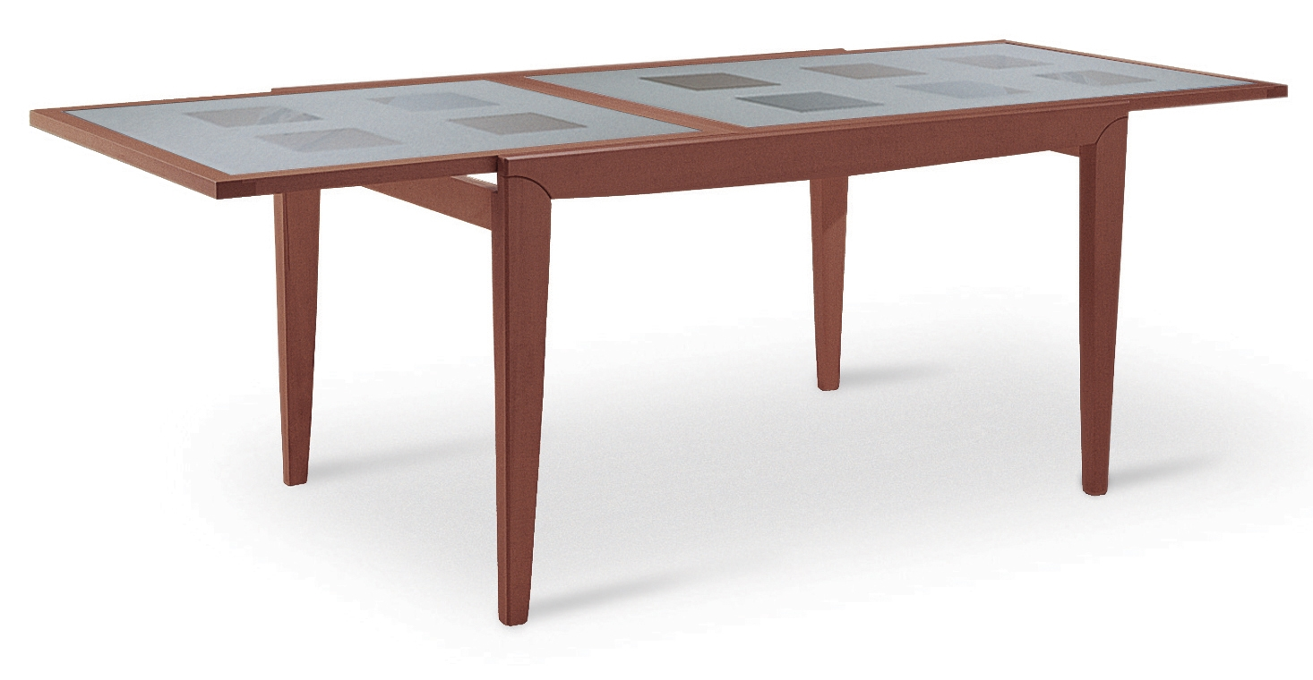 Tavolo allungabile rettangolare in legno e vetro diana for Tavoli estensibili in legno