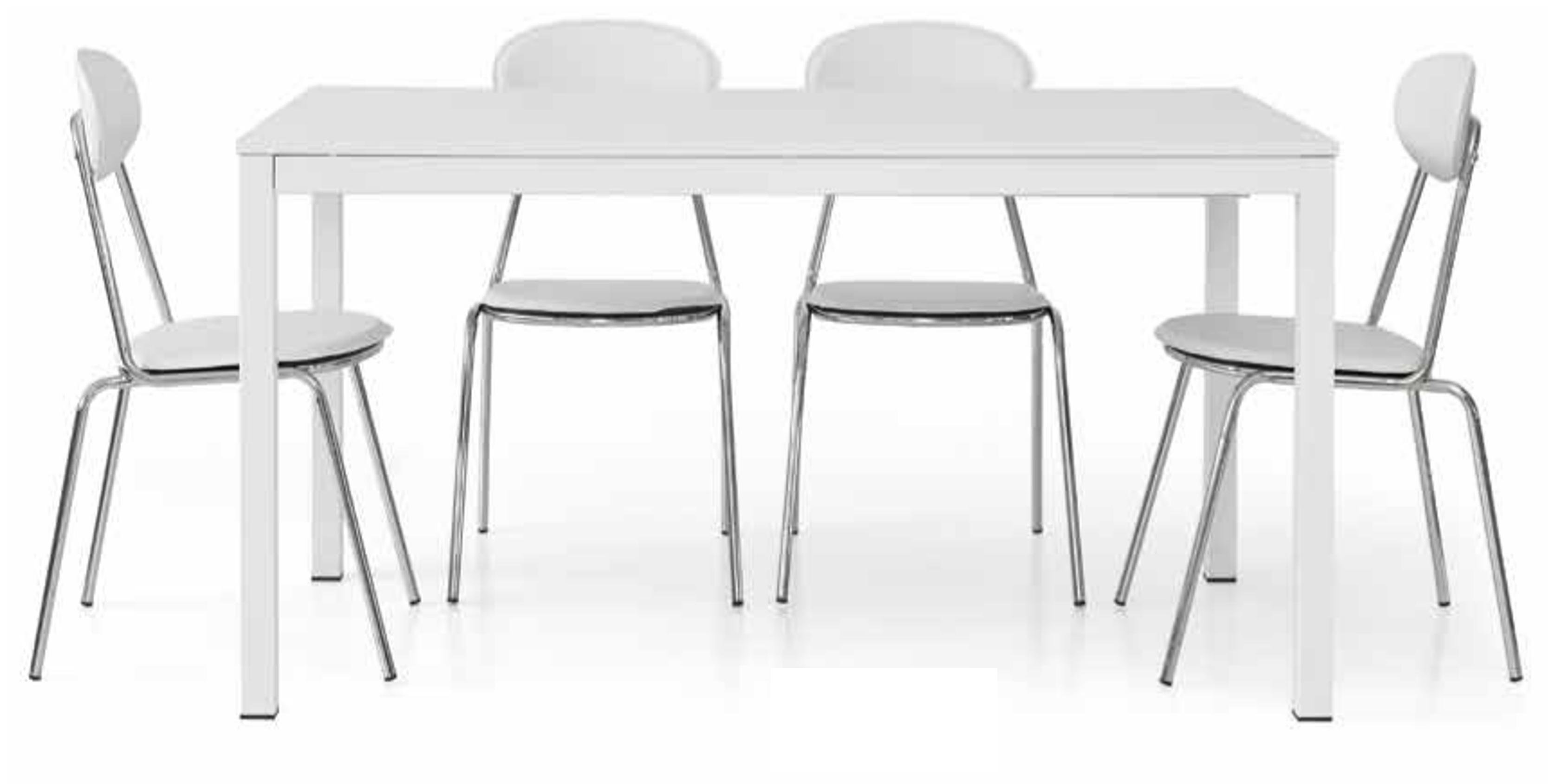 Tavolo allungabile in metallo e top tinta frassino bianco for Tavolo bianco allungabile