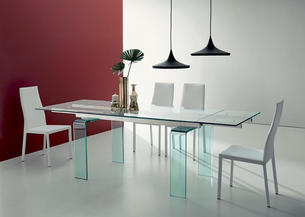 Tavolo allungabile ozzio italia modello phantom piano e for Tavoli pranzo cristallo