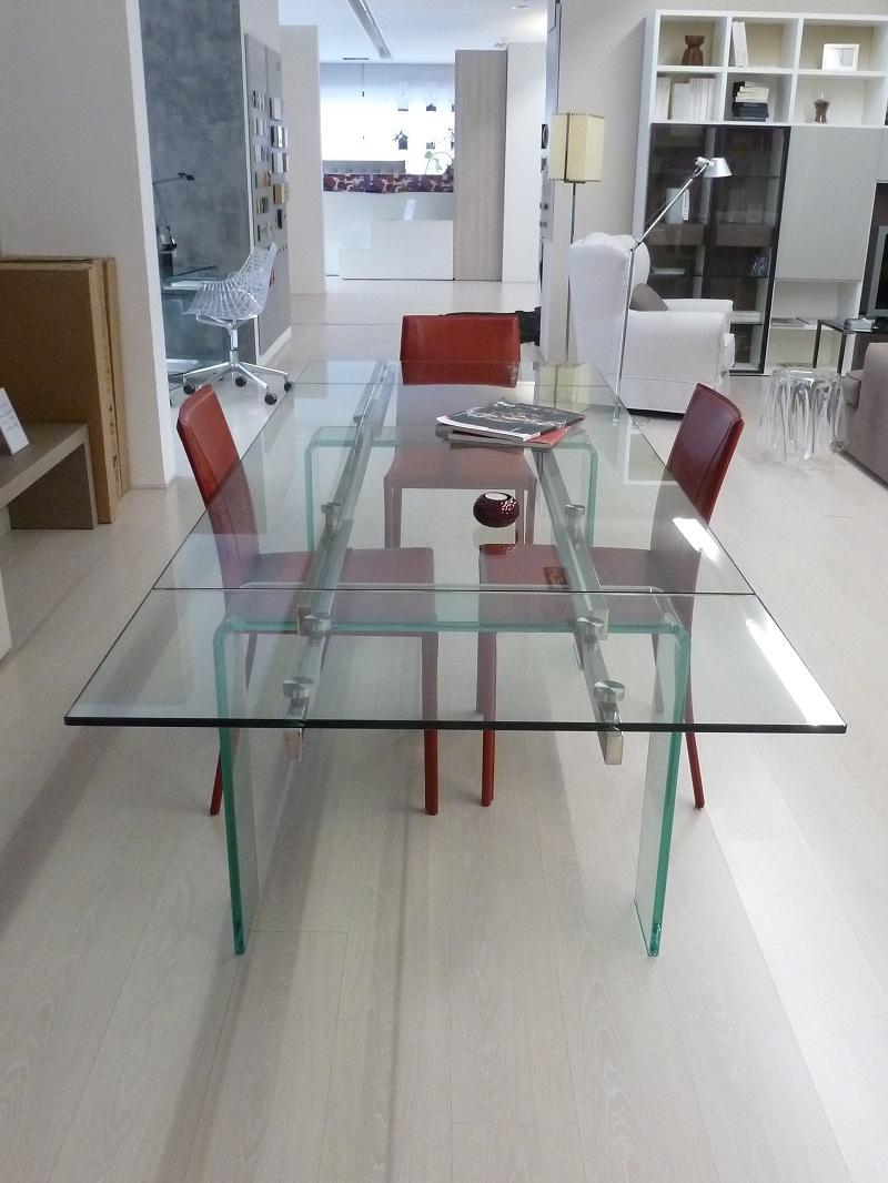 Tavolo allungabile ozzio italia modello phantom piano e - Tavolo in cristallo allungabile ...