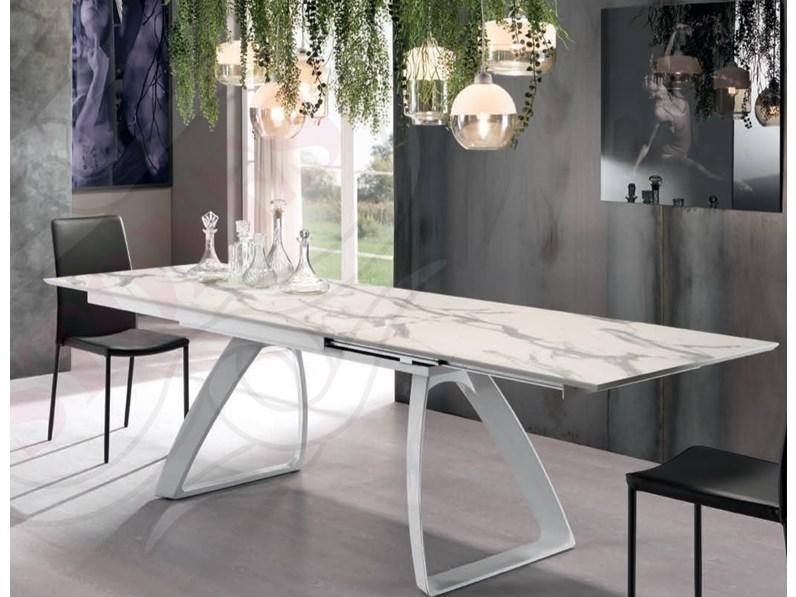 Tavolo In Marmo Bianco.Tavolo Allungabile Piano In Marmo Calacatta
