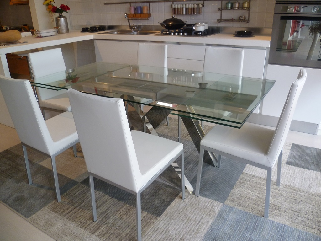 Tavolo modello argo rettangolare allungabile vetro tavoli a prezzi scontati - Tavolo pranzo cristallo ...