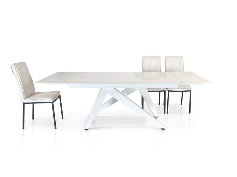 Tavolo Allungabile Moderno Cristallo.Tavolo Allungabile Piano Vetro Bianco Fine Produzione Md Work In
