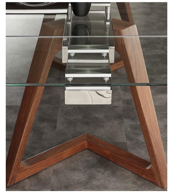 Tavolo allungabile vetro con gambe legno massello. Prezzo offerta ...