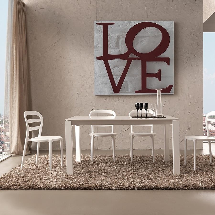 Tavolo allungabile bianco lucido silver lux la seggiola for Tavolo bianco lucido