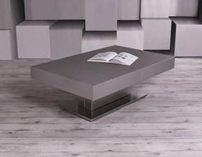 Tavolo Altacom modello Ares Fold. Tavolo con altezza regolabile e struttura in metallo con piano malta beton grigio scuro e base inox.