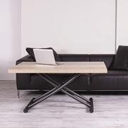 Tavolo Altacom modello Geniale. Tavolino trasformabile in tavolo da pranzo con piano nobilitato natural halifax oak e base verniciato grafite.