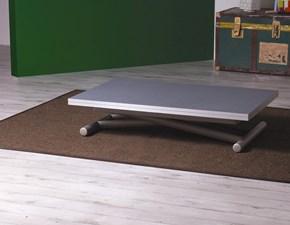 Tavolo Altacom modello Universe. Tavolino trasformabile in tavolo da pranzo, con piano malta pietra spatolata antracite e base verniciato grisou'.
