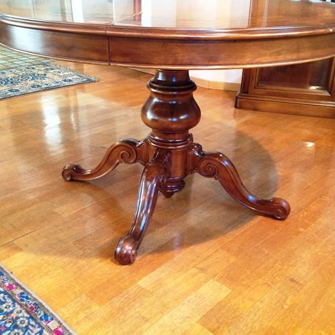 Tavolo artigianale diametro 120 allungabile in legno stile for Busnelli arredamenti