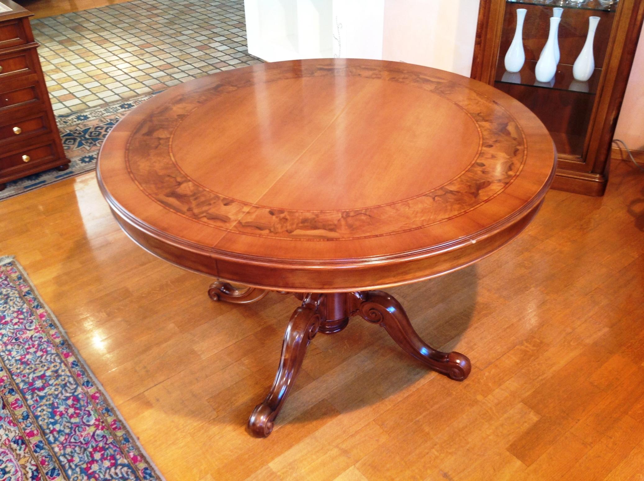 Tavolo artigianale diametro 120 allungabile in legno stile ...