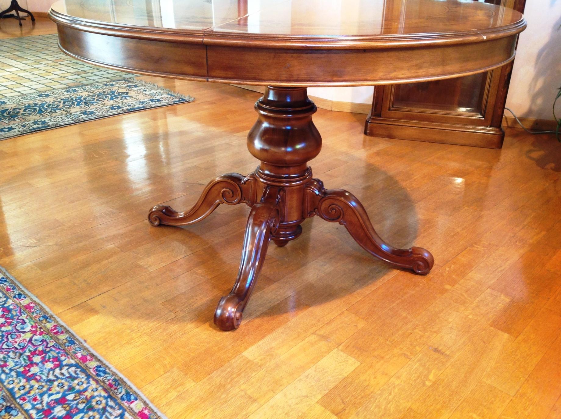 Tavolo artigianale diametro 120 allungabile in legno stile classico con bordo radica tavoli a - Tavolo rotondo vetro diametro 120 ...