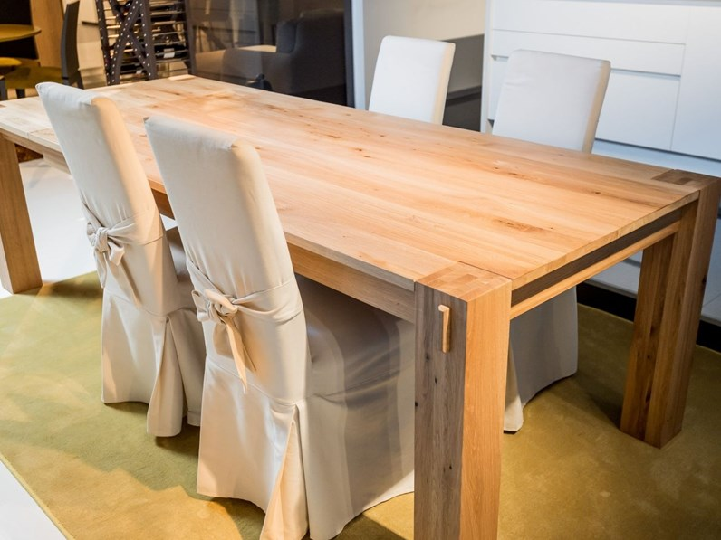Tavolo artigianale in legno rovere naturale massello L.250x100 fisso ...