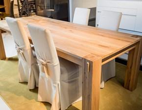 Tavolo artigianale in legno rovere naturale massello L.250x100 fisso in Offerta Outlet