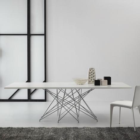 Tavolo Bonaldo Octa in vetro e acciaio rettangolari allungabili - Tavoli a pr...