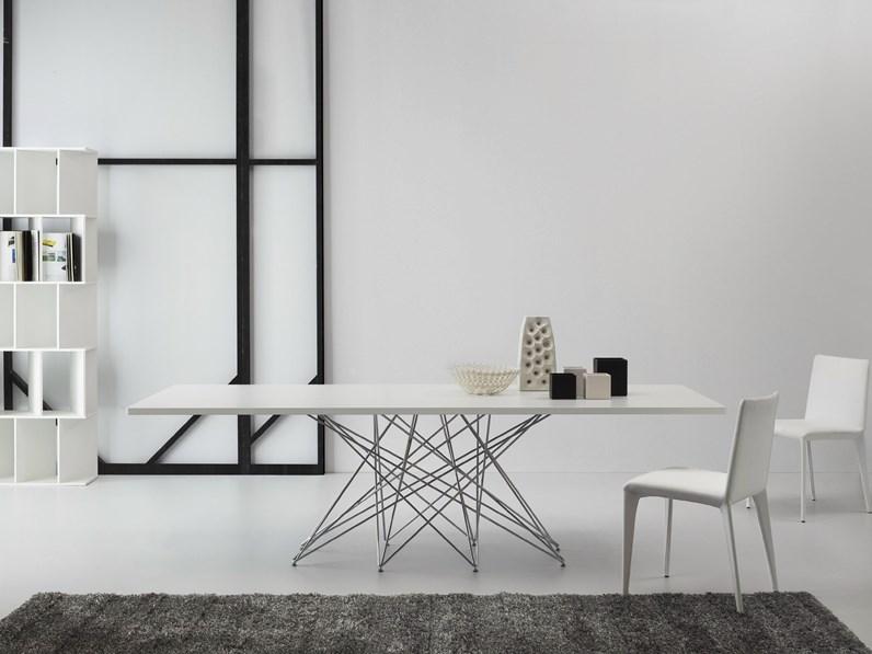 Tavolo Bonaldo Octa in vetro e acciaio rettangolari allungabili