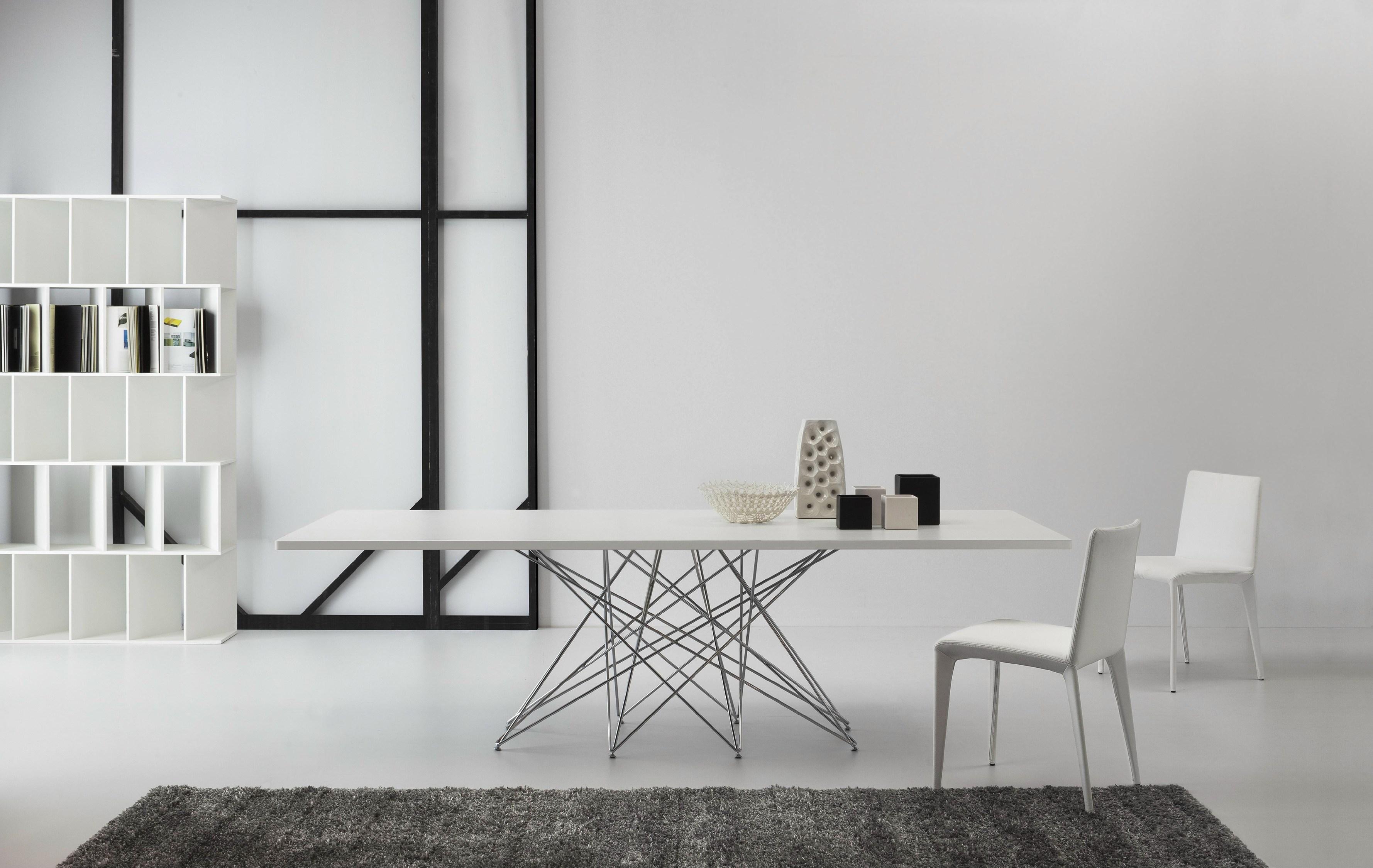 Tavolo bonaldo octa in vetro e acciaio rettangolari - Tavolo acciaio e vetro ...