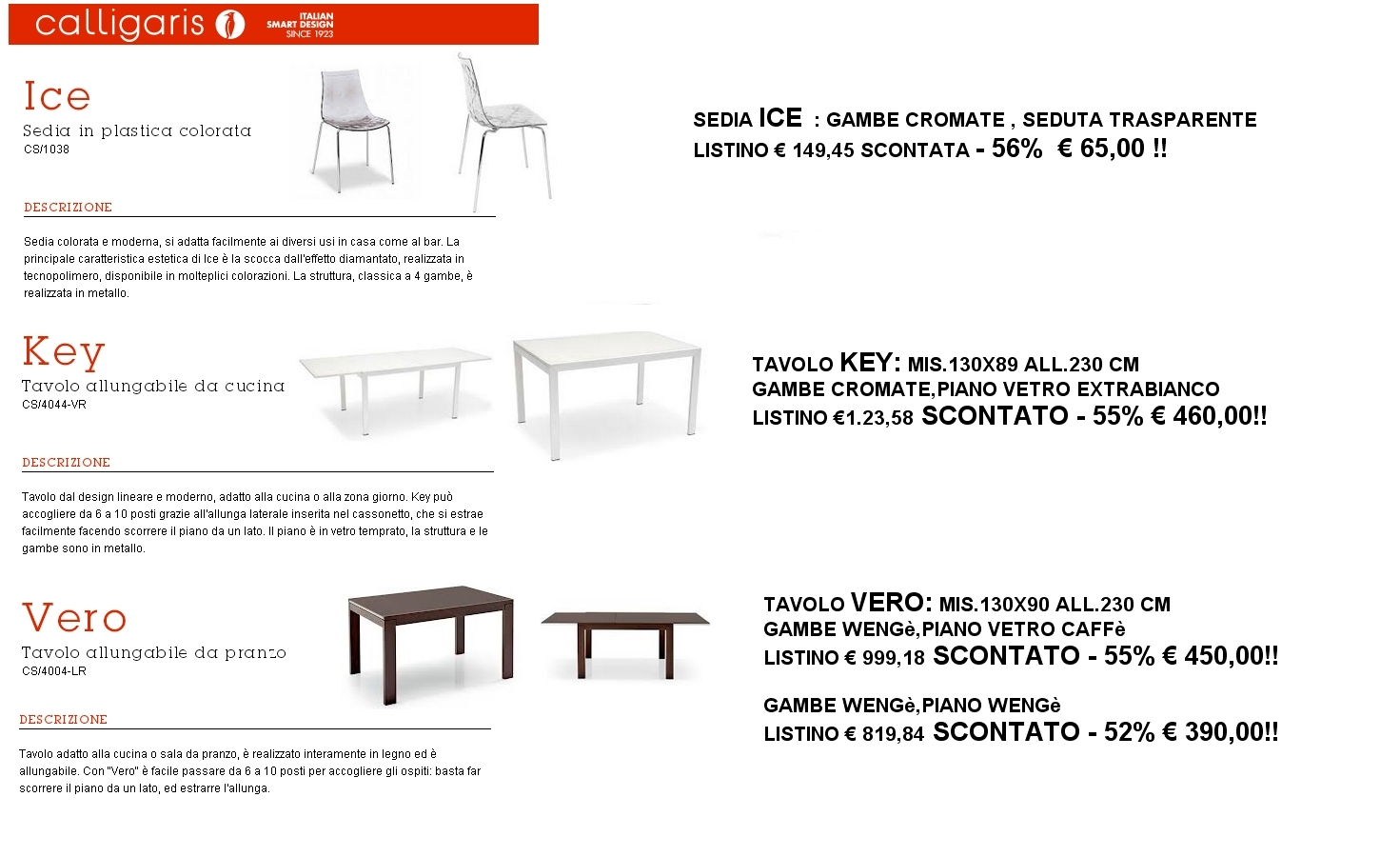 Tavolo Calligaris made initaly