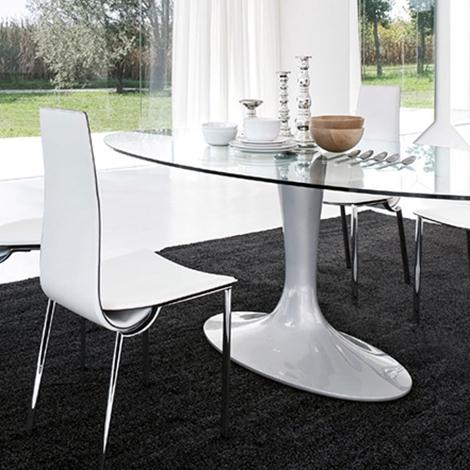 Tavolo con piano ellittico in vetro temperato e gamba - Tavolo ellittico ...