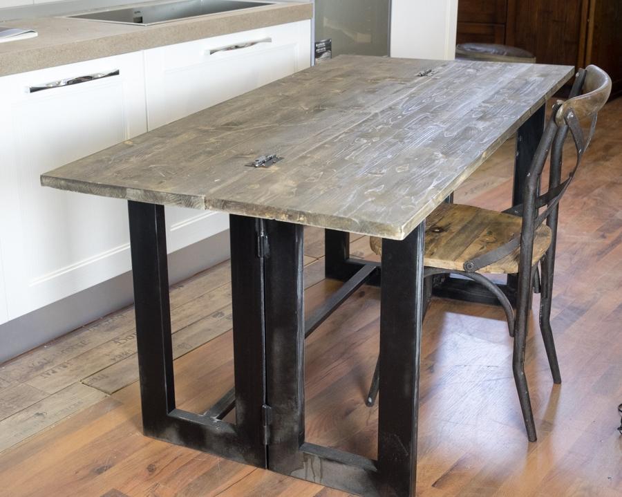 Tavolo consolle vintage etno ribalta cm 170 industrial for Gambe per mobili ikea