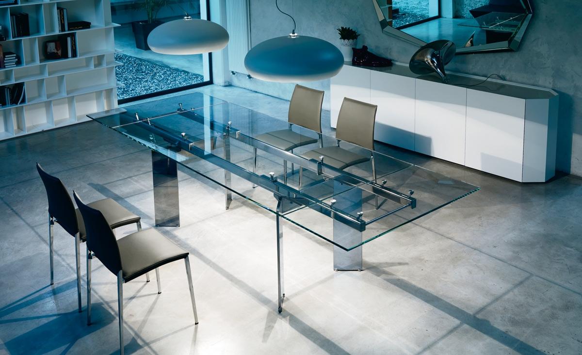 Tavolo cristallo allungabile elan di cattelan tavoli a - Tavolo di vetro allungabile ...