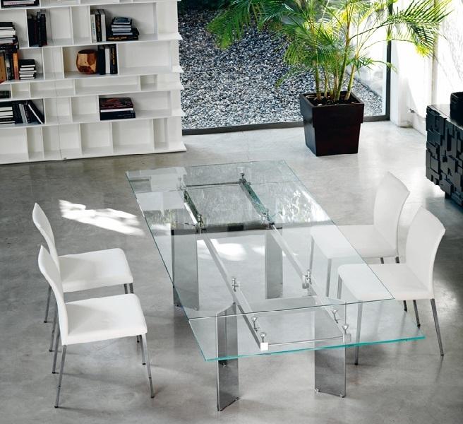 Tavolo cristallo allungabile elan di cattelan tavoli a for Tavoli pranzo cristallo
