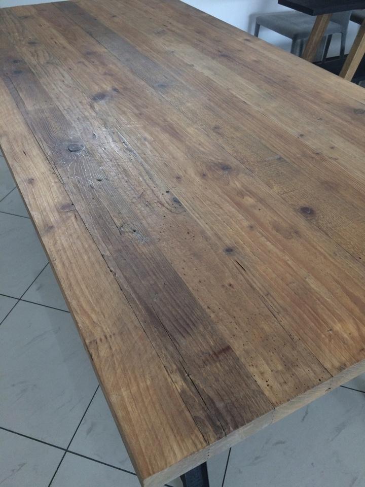 Tavolo dialma brown db 002674 in legno massello riclato e - Tavolo legno e metallo ...
