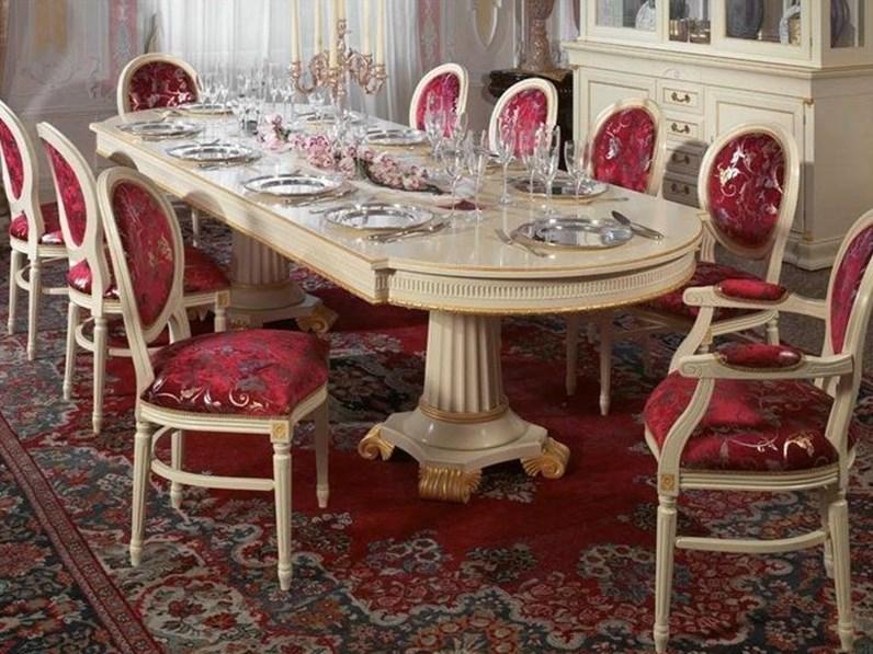 Tavolo e sedie massiccio foglia oro made in italy for Sedie made in italy