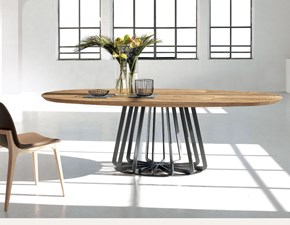 Tavolo ellittico con basamento centrale Plisse nature design Nature design scontato