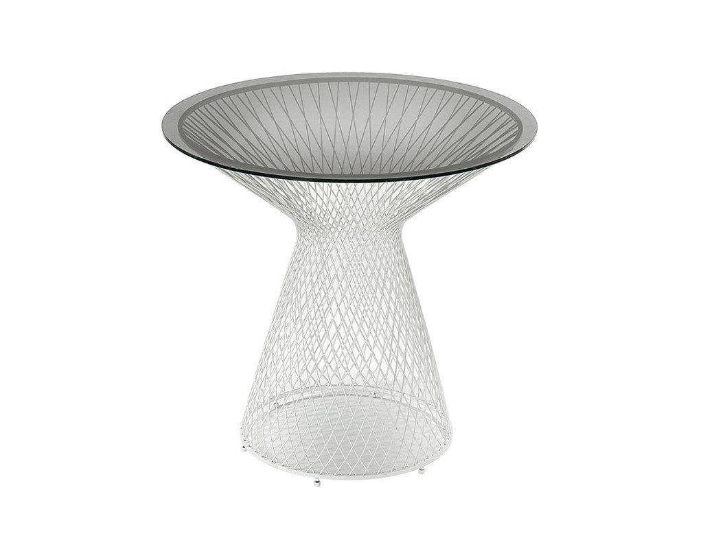 Tavolo Rotondo In Metallo Colore Alluminio E Vetro Fumè Da 80 Cm Di  #252B2A 1024 800 Tavoli Da Pranzo Vetro E Acciaio